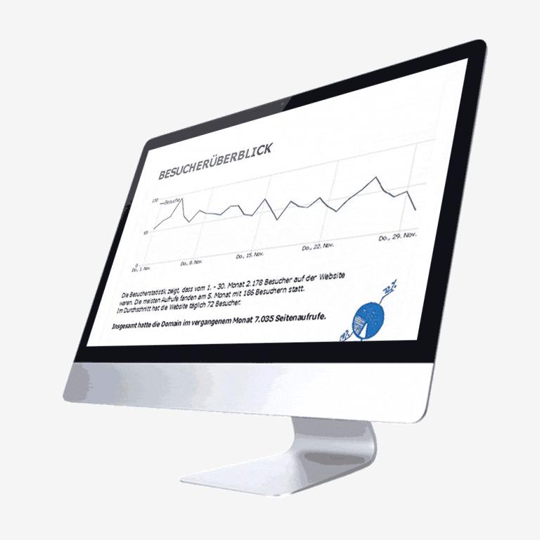Auf dem MAC-Desktop zeigen wir Unternehmen die Besucher-Statistik der Websites.