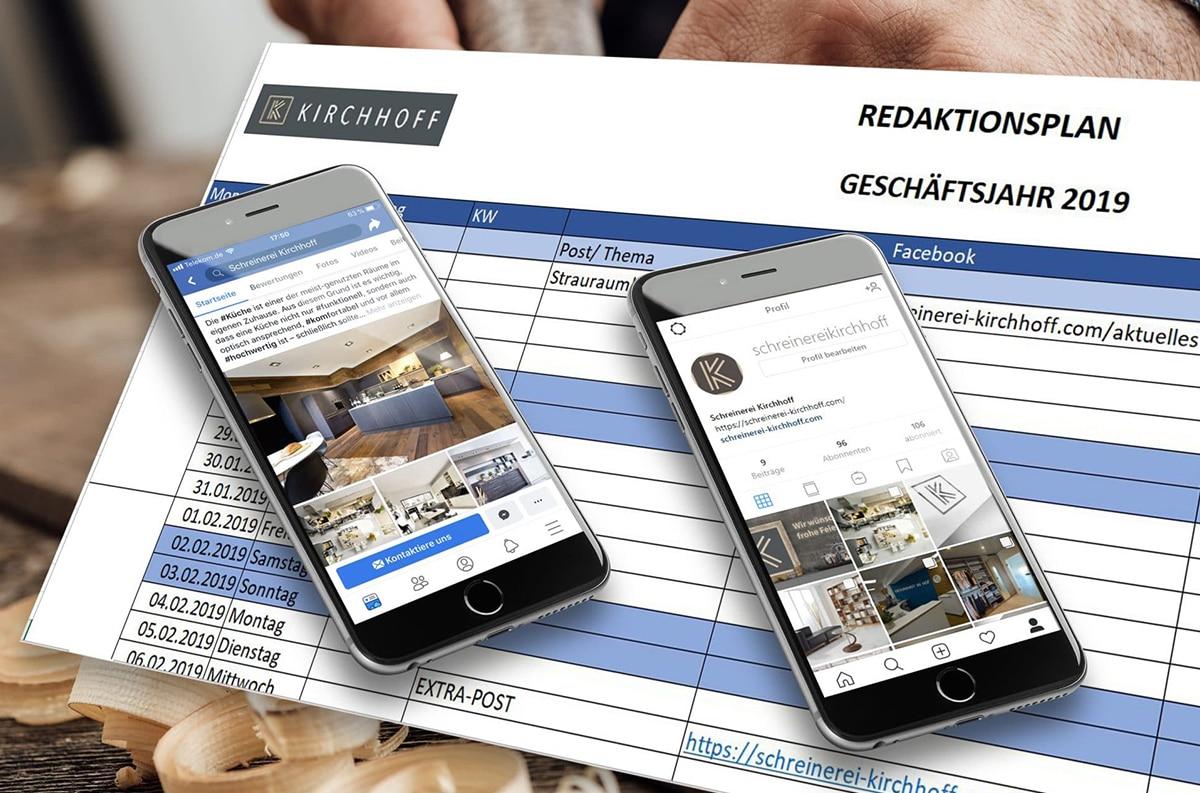Unsere Onlineagentur in Kassel erstellt für Handwerksbetriebe im Bereich Social-Media strukturierte Redaktionspläne für Werbekampagnen in Facebook.